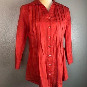 Coldwater Creek Orange Linen Button Down Blouse S